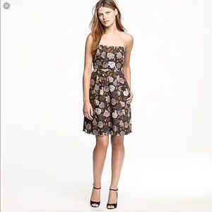 J. Crew floral strapless fit & flare pockets dress